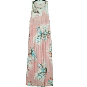 Dresses & Skirts - Pink Floral Maxi Dress Sleeveless Tank Top Size 3X